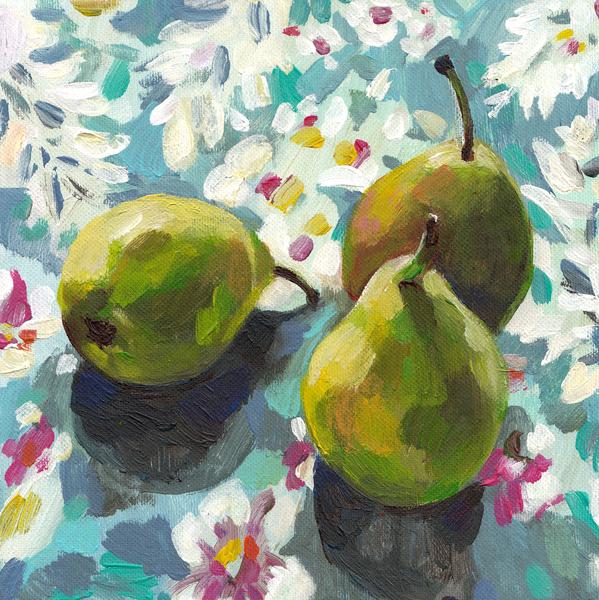 Pears Between Flowers