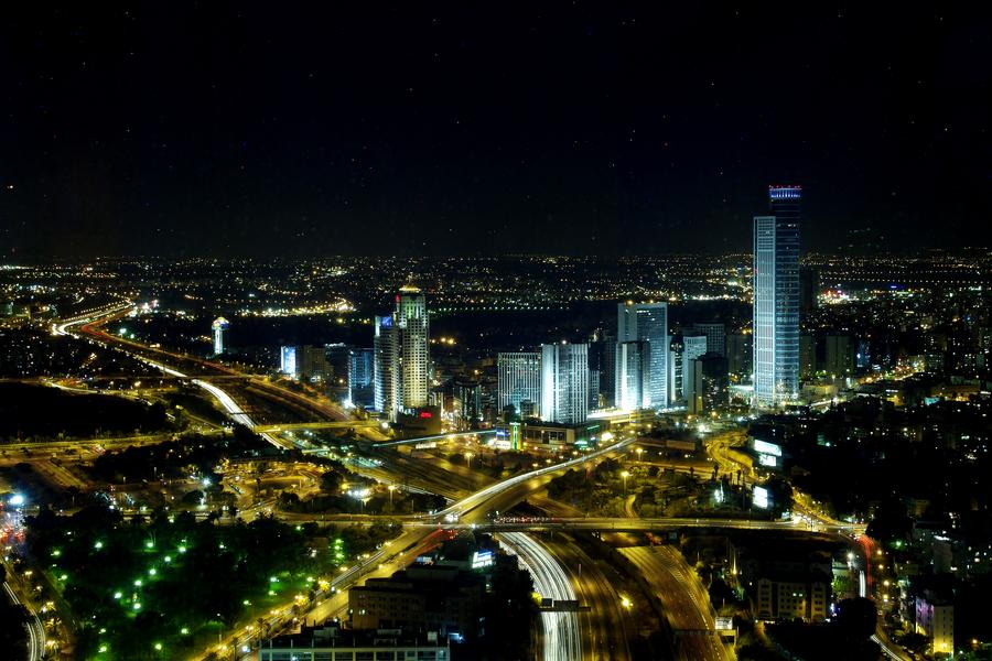 Panorama of Ramat-Gan Towers at Night, 2004