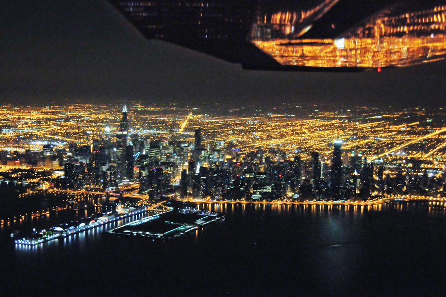 Chicago Downtown and Navy Pier at Night, 2009