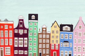 Amsterdam, Netherlands, Holland Row Houses Colorful Illustration Art Print
