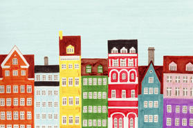 Copenhagen, Denmark, Scandinavian Buildings Colorful Illustration Art Print