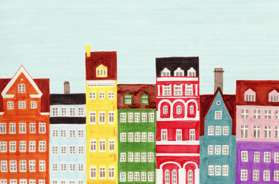 Copenhagen, Denmark, Scandinavian Buildings Colorful Illustration Art Print