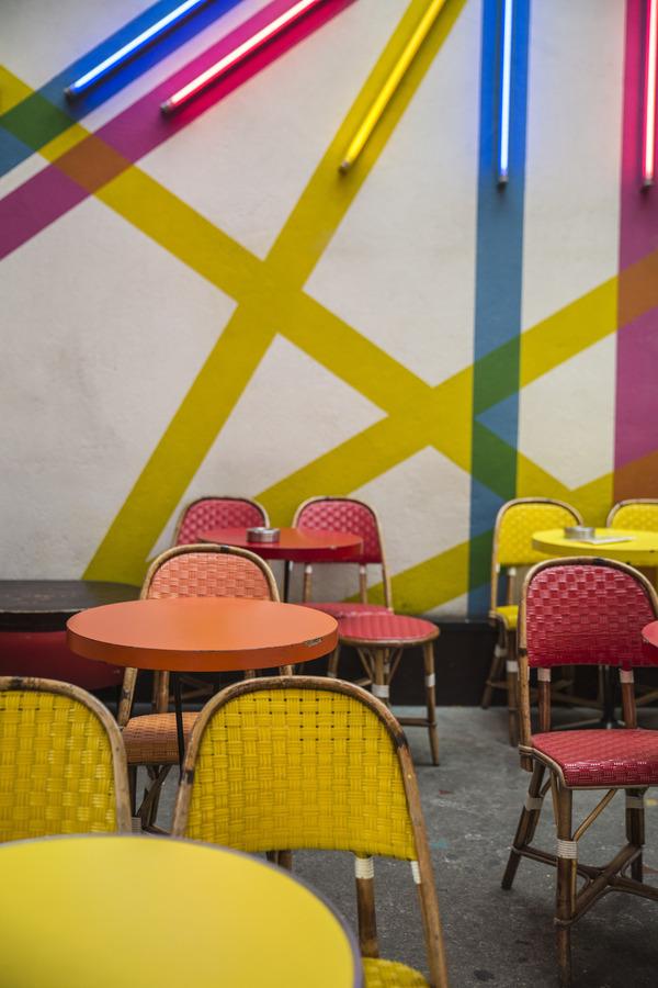 Colorful Parisian Cafe