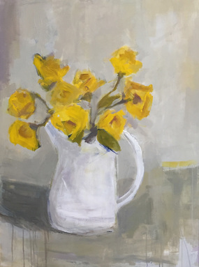 Yellow Roses in White Pitcher