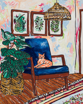 Ginger Cat in Mid Century Chair