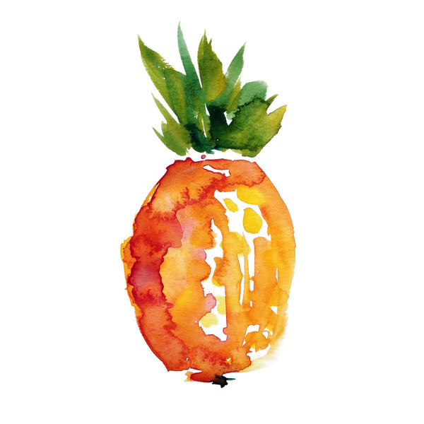 Black Fruits Splash Modern Kitchen Art Canvas Print Poster: Island Pineapple By Kiana Mosley