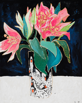 Swan Vase with Lilies on Dark Blue and Black