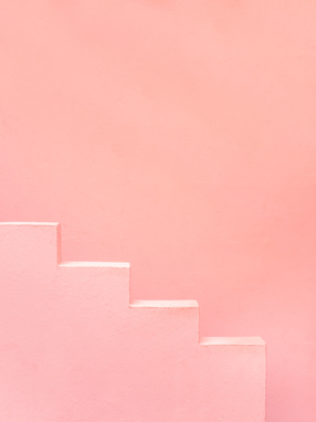 Pink steps of Muralla Roja Spain   Abstract photograph architecture art