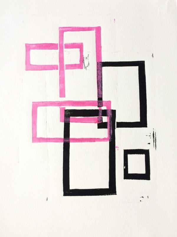 Pink and Black Geometric Squares x2