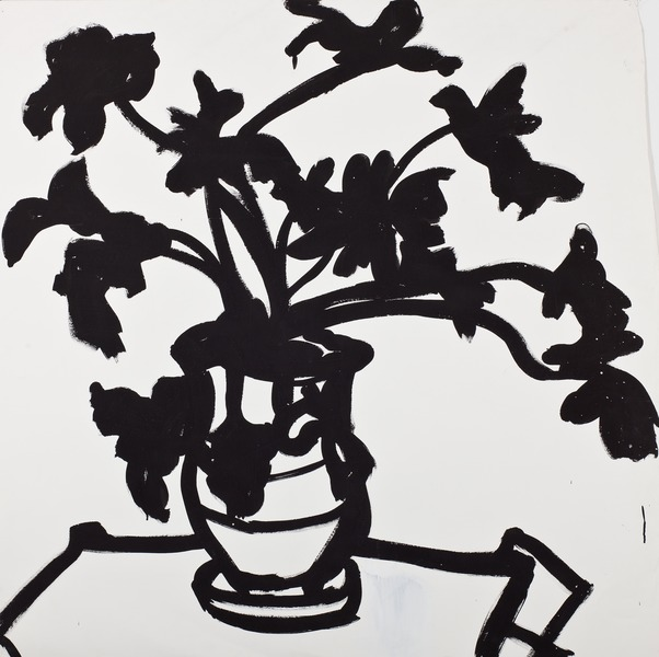 black acrylic drawing of a plant