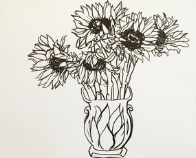 Five Sunflowers in a Vase