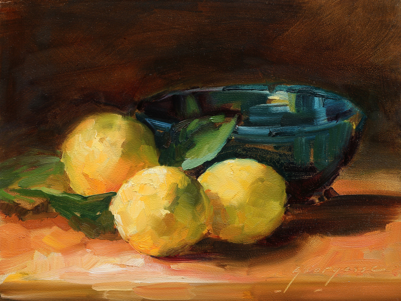 Lemons and Blue Bowl