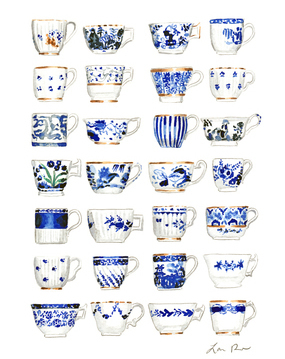 Blue and White Pattern China Teacups Watercolor Painting