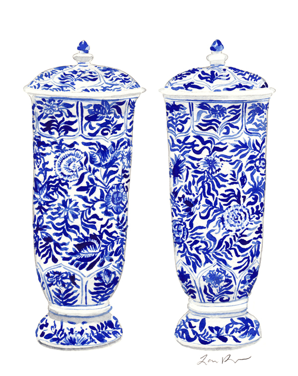 Pair of Blue and White China Ginger Jar Vases