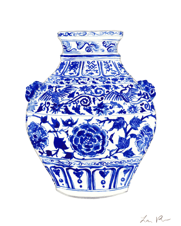 Blue And White China Ginger Jar Vase With Foo Dog Handles By Laura