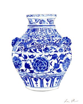 Blue and White China Ginger Jar Vase with Foo Dog Handles