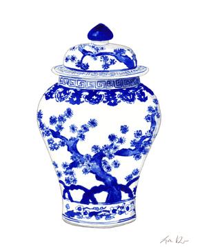 Blue and White China Ginger Jar Vase with Japanese Landscape