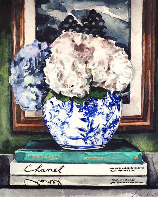 Hydrangeas in Blue and White Chinese Vase - Styled Vignette