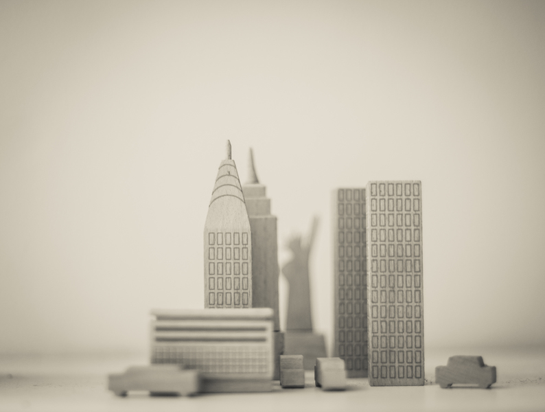 Manhattan in Wood Blocks