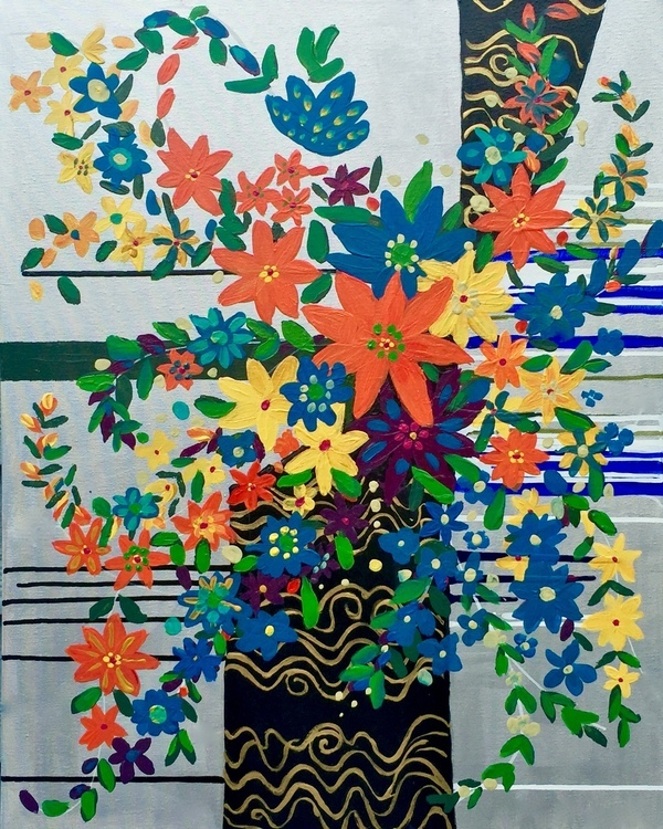 Abstract Clematis and Vines, Modern Asian Fusion, Bouquet Painting