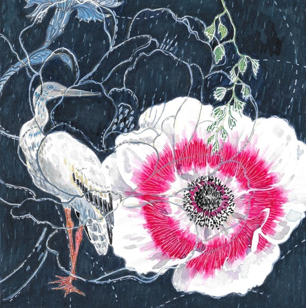 Crane and Flower