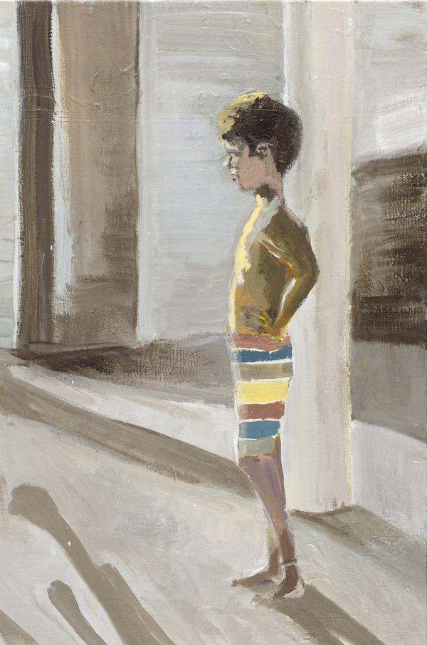 Boy in Striped Bathing Suit