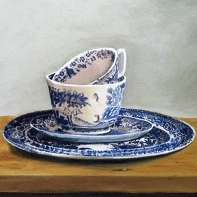 Blue cups and plates