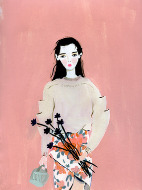 Girl With Black Flowers
