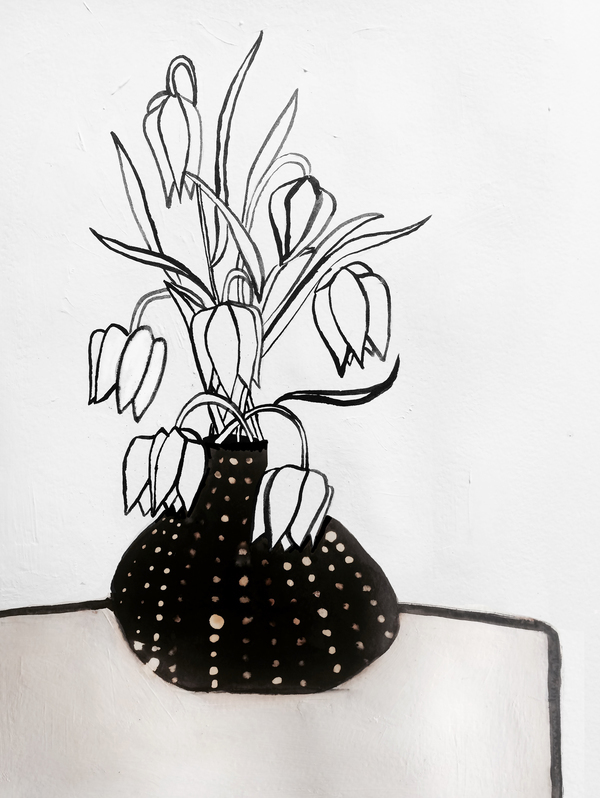 Flowers in black vase by ruti shaashua artfully walls flowers in black vase mightylinksfo