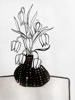 Flowers in Black Vase