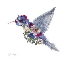 Pressed Floral Hummingbird