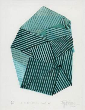 Black-Blue Striped Stone #3
