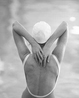 The Swimmer with a white  cap