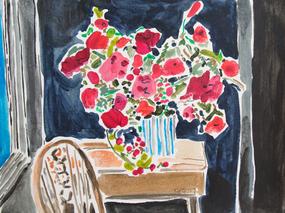 Red Flowers in Dark Room